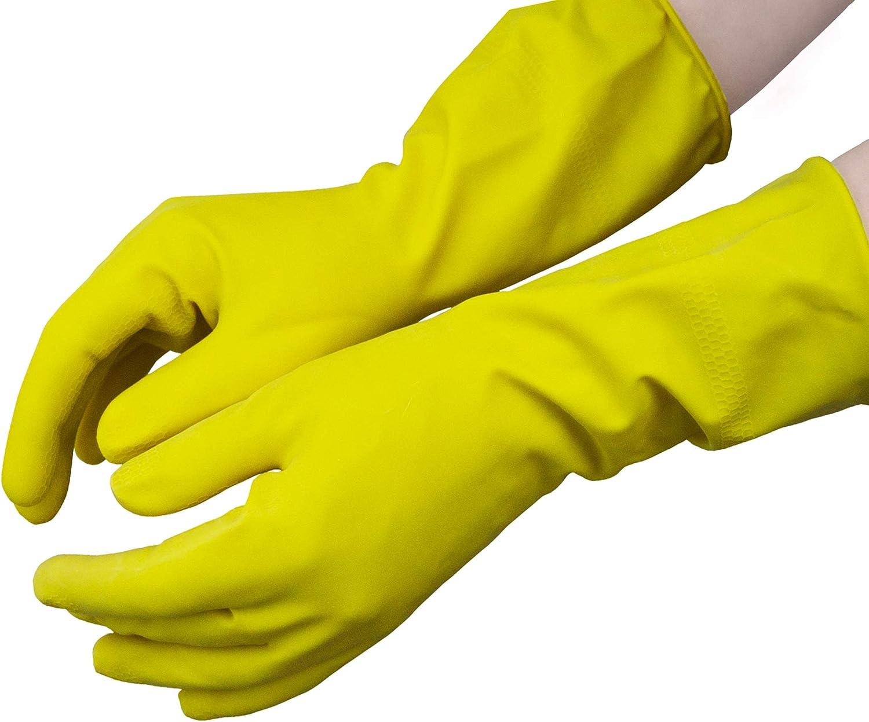 Hevea - Guantes de látex flocados para uso doméstico. Paquete de 12 pares. Talla: M (mediana). Color: amarillo: Amazon.es: Salud y cuidado personal