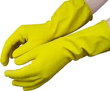 Guantes de l/átex flocados para uso dom/éstico grande Hevea Color: amarillo Paquete de 12 pares Talla: L