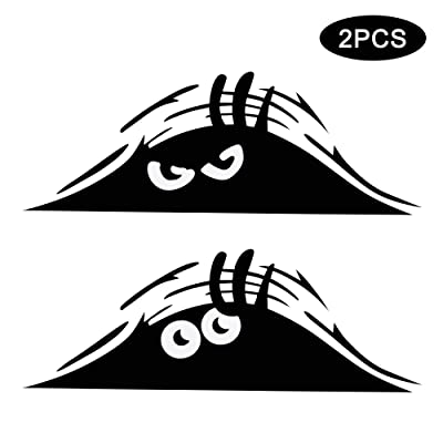 TOMALL 2PCS Peeking Monsters Scary Eyes Car Sticker Peeking Elf Car Decal Waterproof Car Decal Smile and Anger Car Stickers Black for Car Window Bumper Laptop Motorcycle: Automotive