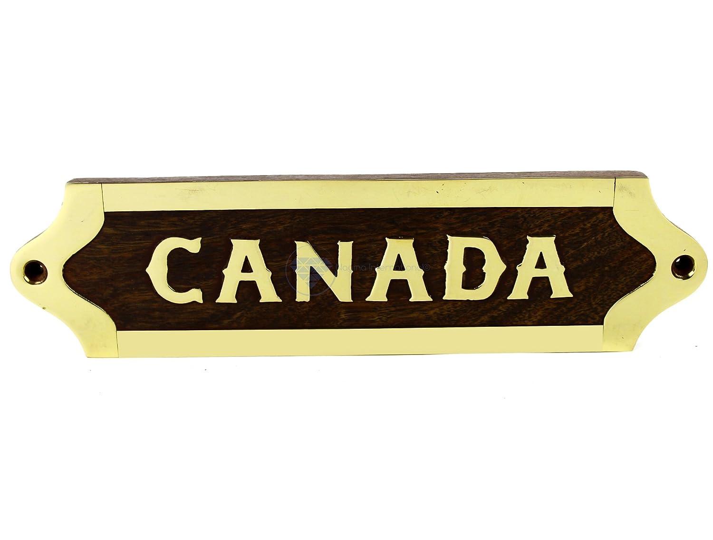 Amazon.com: Nagina International CANADA Brass Inlaid Door Signage ...