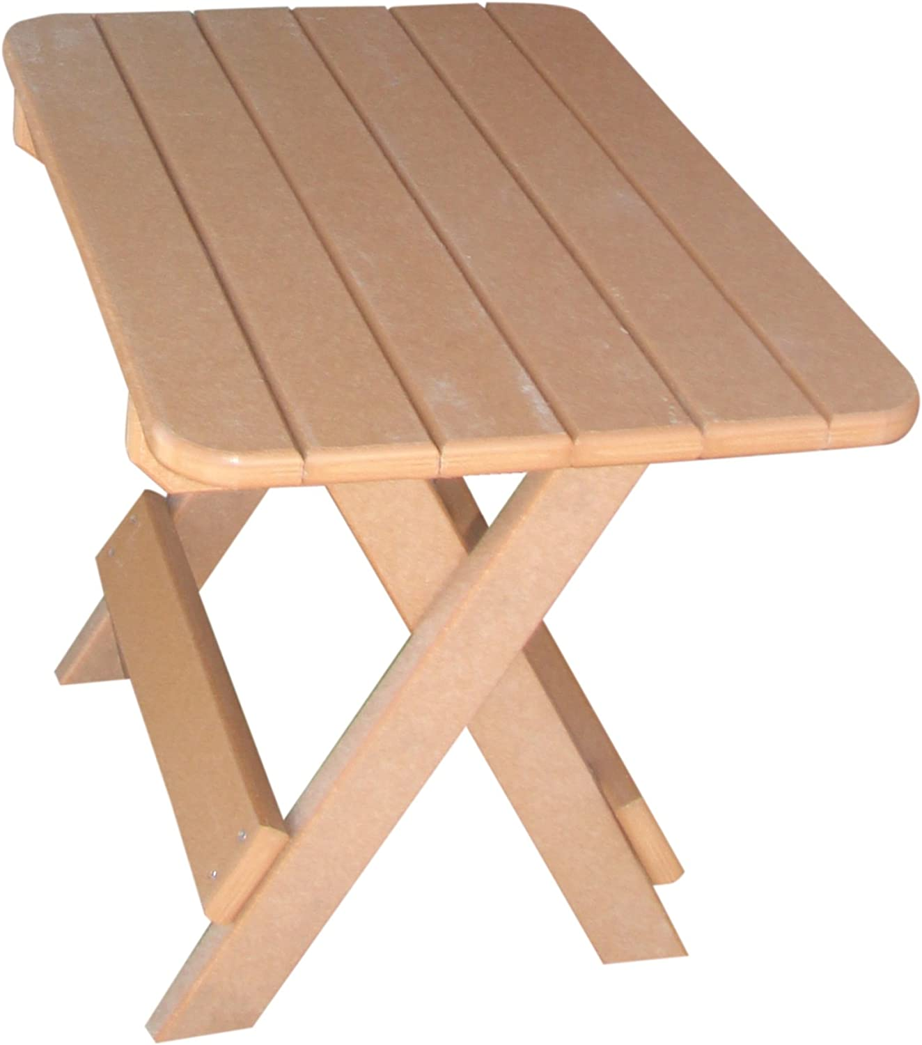 Phat Tommy Recycled Poly Resin Folding Side Table – Durable & Eco-Friendly Patio Furniture Matches Adirondack, Tan