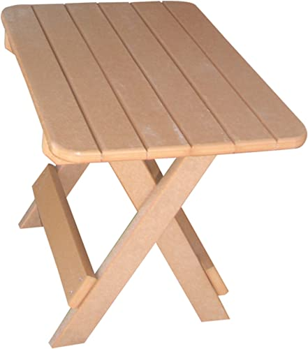 Phat Tommy Recycled Poly Resin Folding Side Table Durable Eco-Friendly Patio Furniture Matches Adirondack
