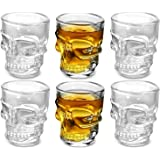 Circleware Skull Face Heavy Base Whiskey Shot Glasses, Set of 6, Party Home and Entertainment Dining Beverage Drinking…
