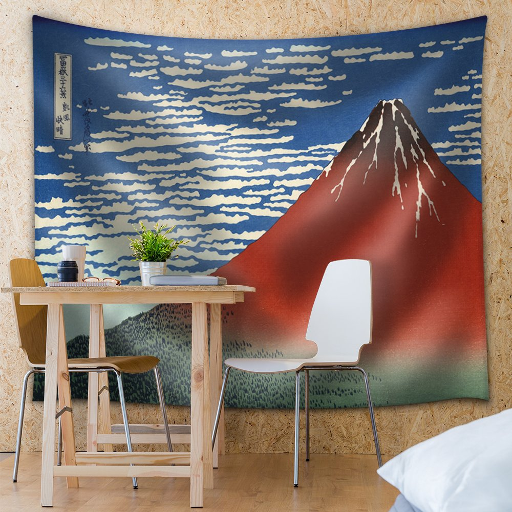 wall26 - Katsushika Hokusai - Red Fuji Southern Wind Clear Morning - 1830 Woodblock Print - South Wind, Clear Sky - Fabric Tapestry, Home Decor - 68x80 inches