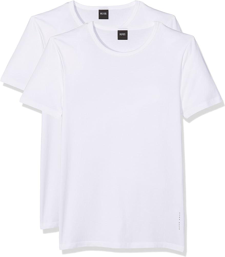 BOSS T-Shirt RN 2P CO/EL-50325407 Camiseta, Blanco (White), Small ...