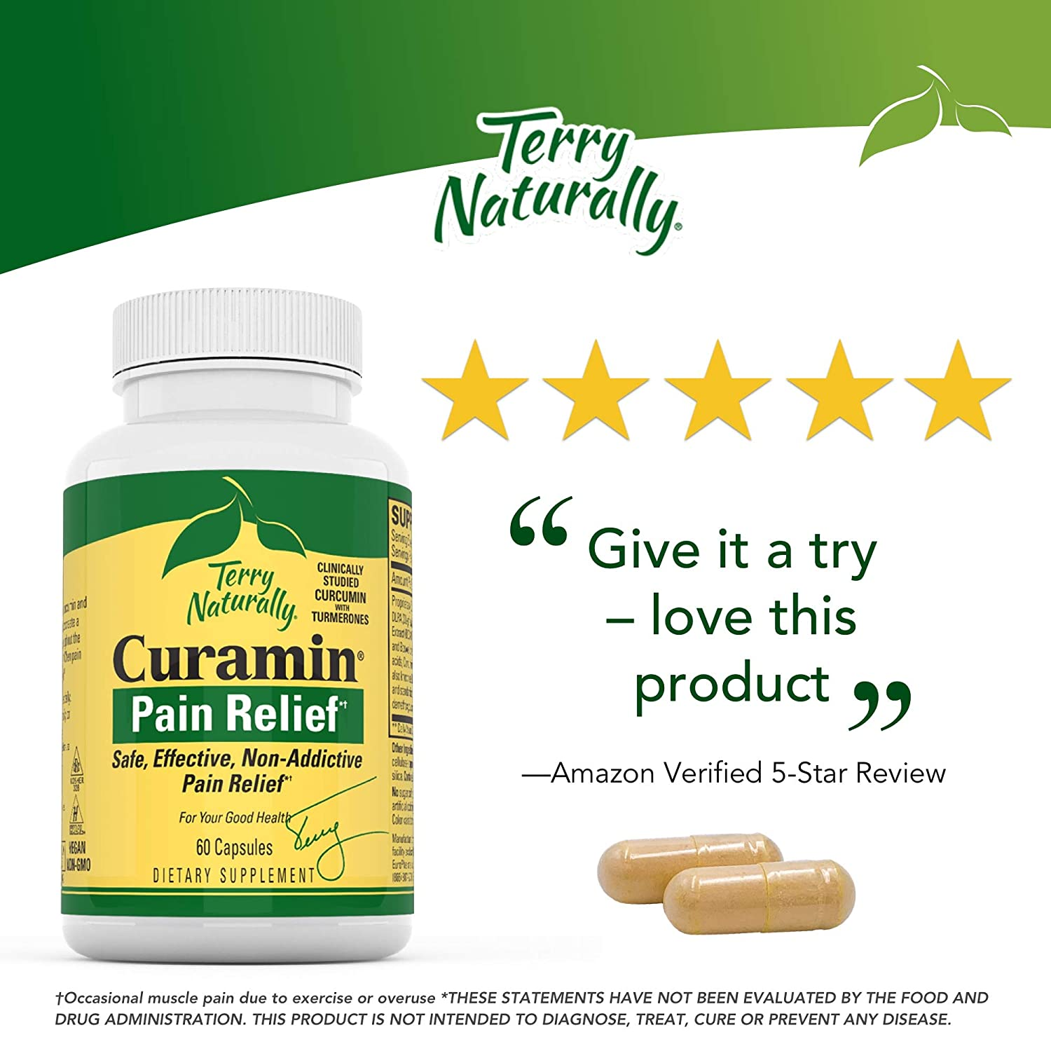 Terry Naturally Curamin – 60 Vegan Capsules – Non-Addictive Pain Relief Supplement with Curcumin from Turmeric, Boswellia DLPA – Non-GMO, Gluten-Free – 20 Servings