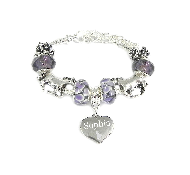 horse personalised engraved charm bracelet girls amazon co uk