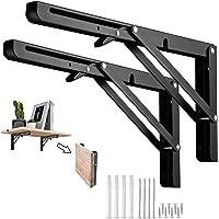 Barley Ears Klapconsole metaal heavy duty plankdrager hoekverbinder zwart wandrek 200 mm plankondersteuning klem…