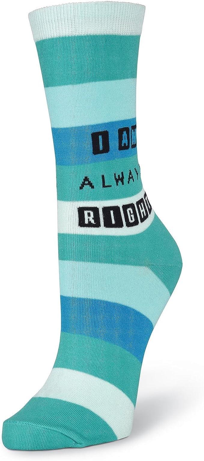 K.Bell The Girls Socks Shopping Girl Design Ladies White Teal Crew Socks New