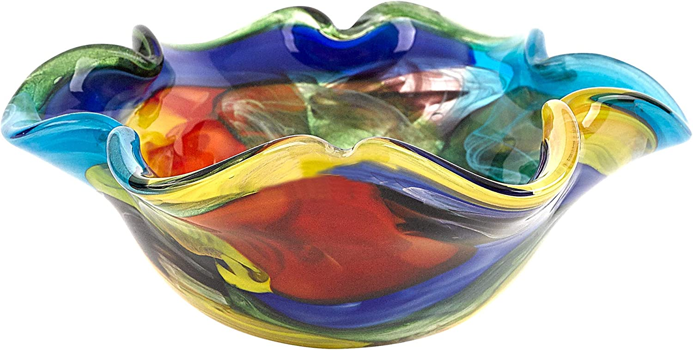 "Badash Stormy Rainbow Murano-Style Art Glass Decorative Bowl - 8.5"" Mouth-Blown Glass Floppy Centerpiece Bowl - Home Decor Accent"