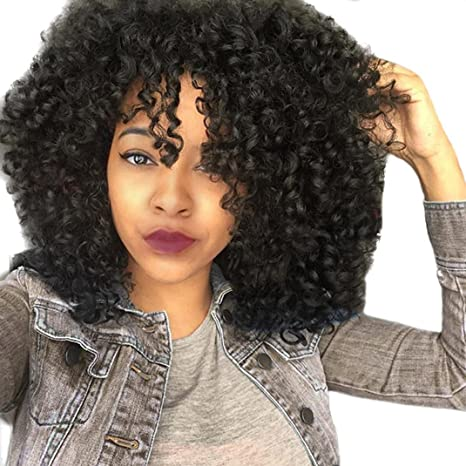 Ouneed 56cm africano largo peluca de pelo rizado sintético extensiones de pelo negro