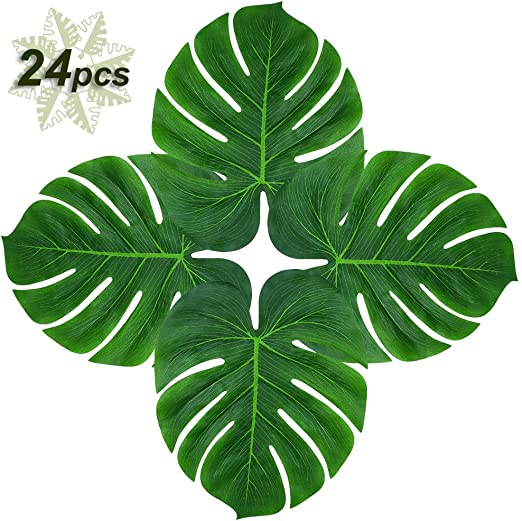 Amazon Com Soyee 24pcs Tropical Palm Leaves 14 Big Monstera Leaf