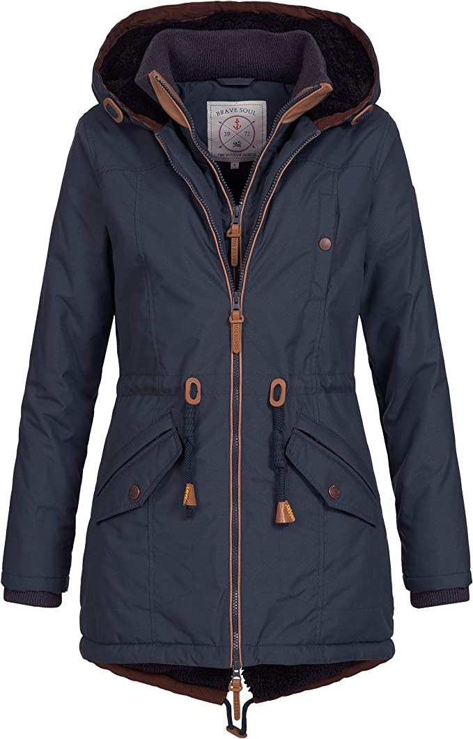 Ausnahme Zustand Azuonda Damen Mantel Winterjacke Parka Winter Jacke warm Wintermantel Doublezipper gefüttert XS XXL AZ34