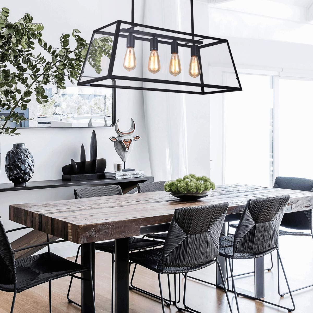 mirrea 4-Light Kitchen Island Pendant Matte Black Shade with Clear Glass Panels Modern Industrial Chandelier for Dinning Room by mirrea (Image #3)