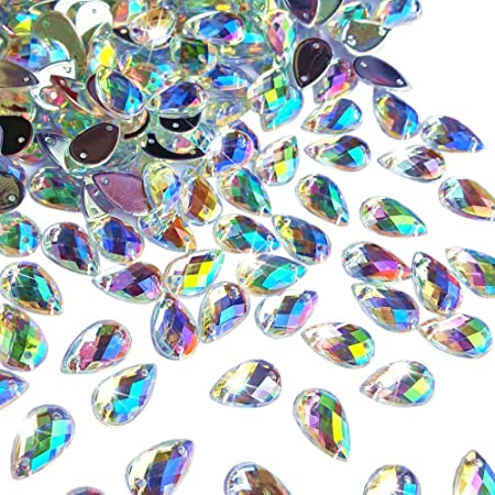 Blue 300Pcs 0.31x0.51/″ Drop Shape Crystal Clear Acrylic Sew On Rhinestones Flatback Sewing Stones For Clothes Wedding Dress Crafts Garments Accessories