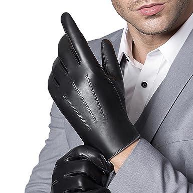 631a3e576927e S-TARIUS Mens Luxury Leather Gloves Winter Touchscreen Italian Goatskin  Driving Gloves Black-L