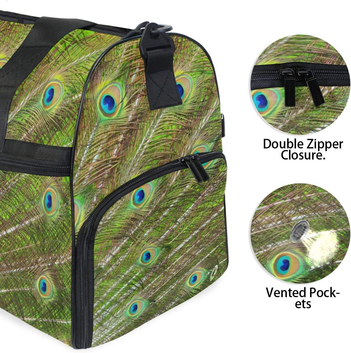 Peacock Green And Blue Plumage Sports Gym Bag with Shoes Compartment Travel Duffel Bag for Men and Women