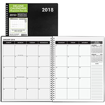 2018 Monthly Daily Planner Calendar / Appointment Book, Black Cover, 8.5 X  11u0026quot;