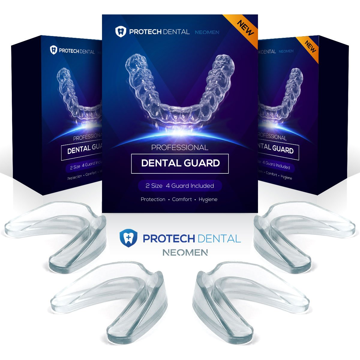Protech Dental Professional Dental Guard -Pack of 4- Stops Teeth Grinding, Bruxism, & Eliminates, Teeth Clenching. 100% Satisfaction.