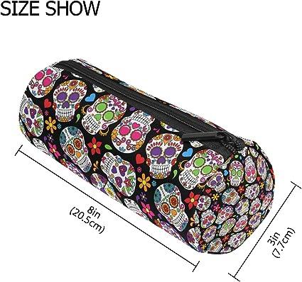 TIZORAX - Estuche para lápices con cremallera para el día de los muertos, diseño de calavera de azúcar, organizador de monedas, para maquillaje, para mujeres, adolescentes, niñas, niños y niñas: Amazon.es: Oficina