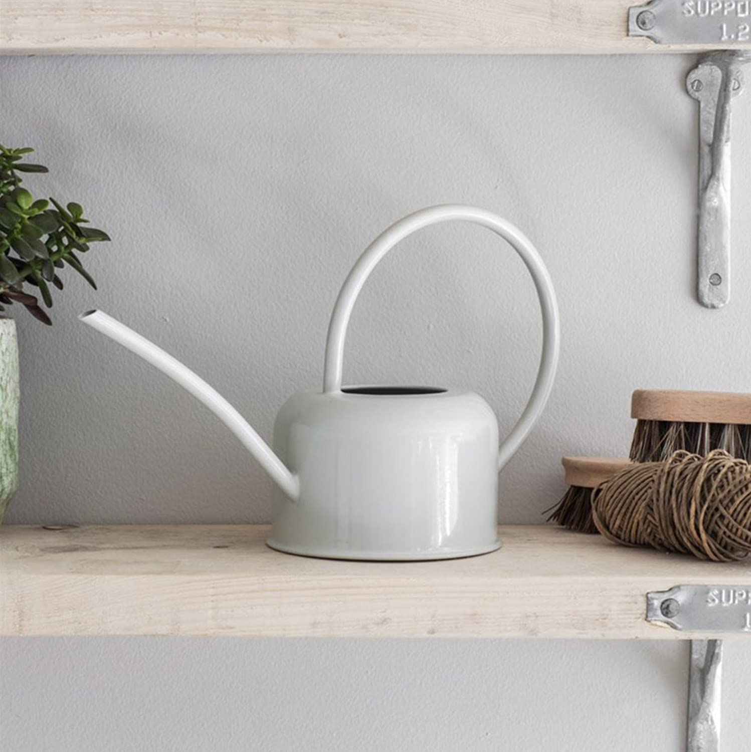 CKB LTD® Small 1.1L Indoor Watering Can - Chalk Coloured Galvanised Powder Coated Steel - For Houseplants Contemporary Metal Design With Narrow Spout And High Handle