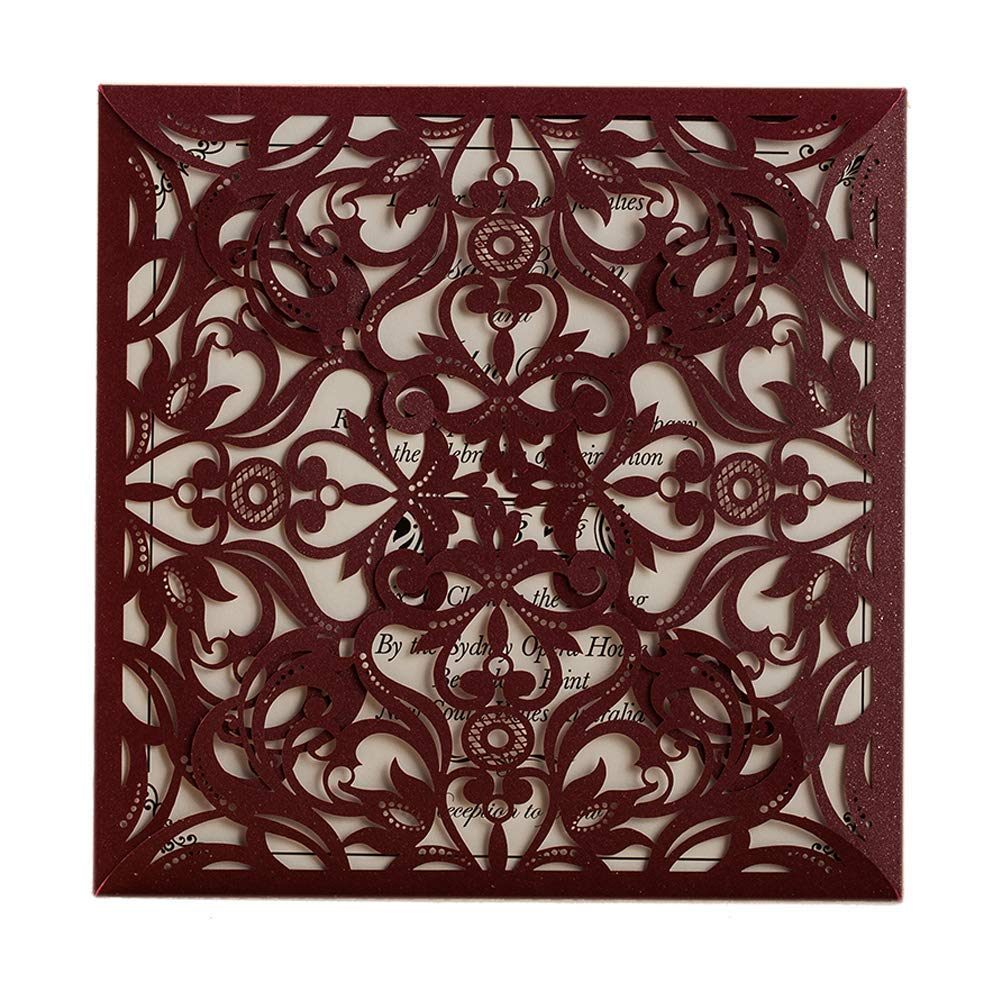 WISHMADE Burgundy Square Laser Cut Invitation Cards for Wedding Engagement Bridal Shower Baby Shower Birthday Dinner Party with Envelope (50 Pieces)