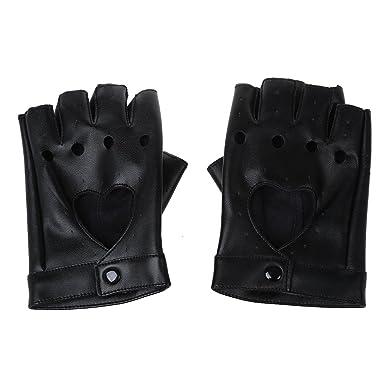 f141ddeafe7ec9 SODIAL(R) Damen Fingerlose Handschuhe Damen PU Leder Niete Fingerlose  Handschuhe Schwarz