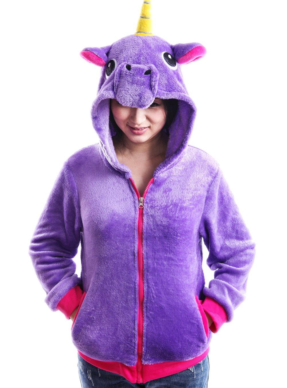 AooToo Costume Hoodies Cute Juniors Kids Cartoon Animal Flannel Zipper Jackets(Purple, S(7))
