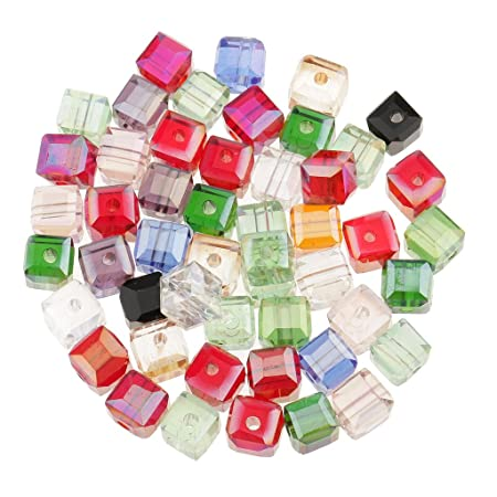 MagiDeal 50 Pieces Square Crystal Beads Glaze Glass Quartz Loose Beads for Jewelry  Making - Mix 558aeddc9239