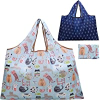 Reusable Grocery Bag, Gophra 2 Packs Large Washable Foldable Eco Friendly Nylon Heavy Duty Fits in Pocket Shopping Tote…