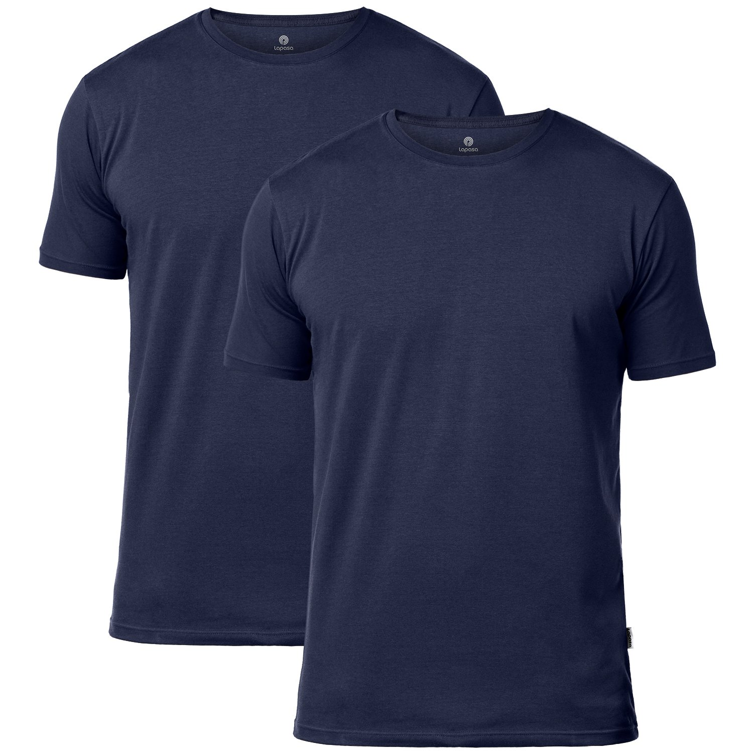 18acb1a9a LAPASA Men's Short Sleeve Cotton Stretch Undershirts V-Neck/Crew Neck T- Shirts Solid Plain Tees 2 Pack M06 at Amazon Men's Clothing store: