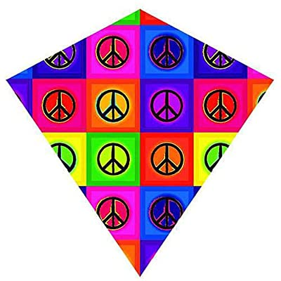 Brainstorm 25 Inch Peace ColorMax Nylon Diamond Kite with Line & Winder/Handle: Toys & Games