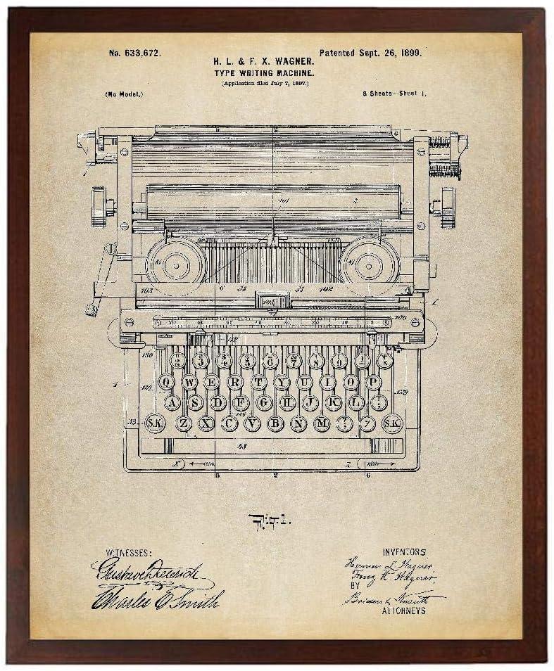 Turnip Designs Typewriter Patent Poster Art Print Typewriter Print Home Office Decor Antique Typewriter Living Room Wall Art TNP145