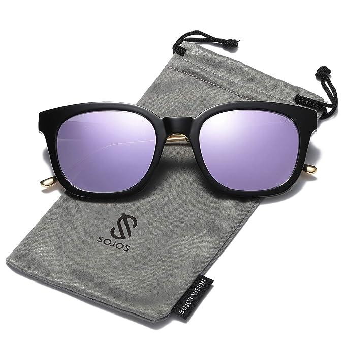 142bce50e1 SOJOS Gafas De Sol Unisex Hombre Mujer Clásico Cuadrado Polarizado SJ2050  (C10 Marco Negro/