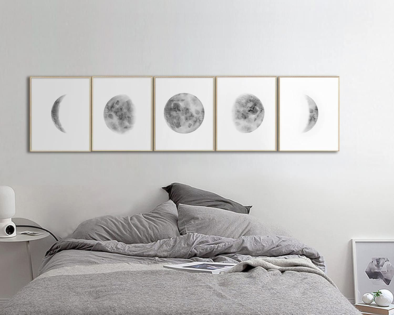 moon phases prints living room art bedroom wall art home decor Love between night and day cats wall art print