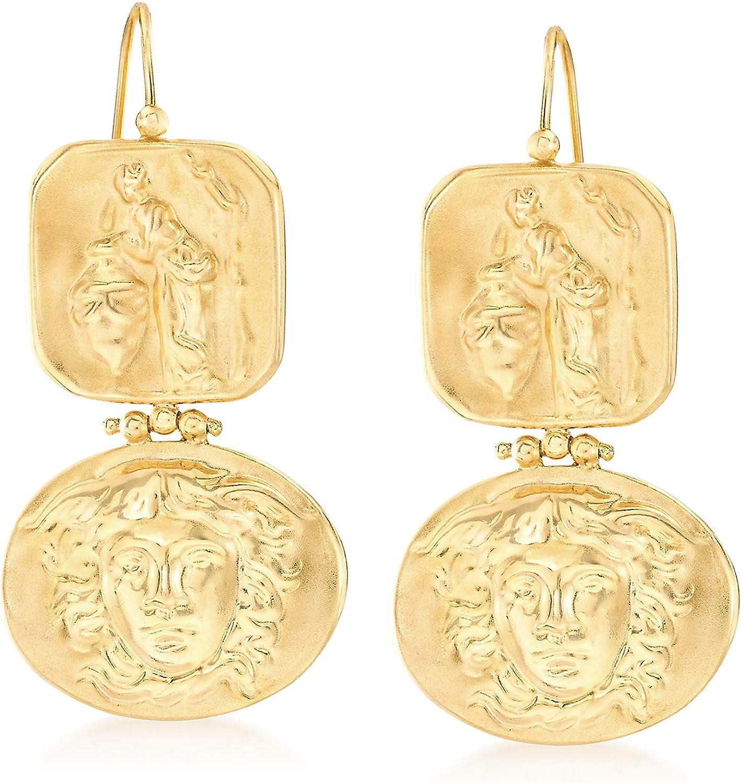 Ross-Simons Italian Tagliamonte Tribute To Medusa Drop Earrings in 18kt Gold Over Sterling