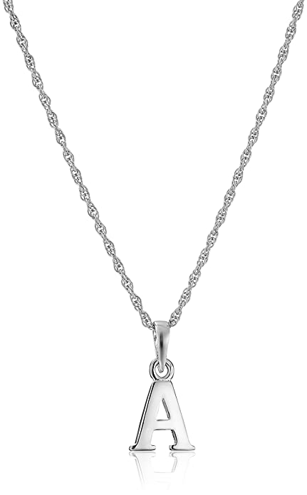 Amazon sterling silvera initial pendant necklace 18 jewelry aloadofball Images