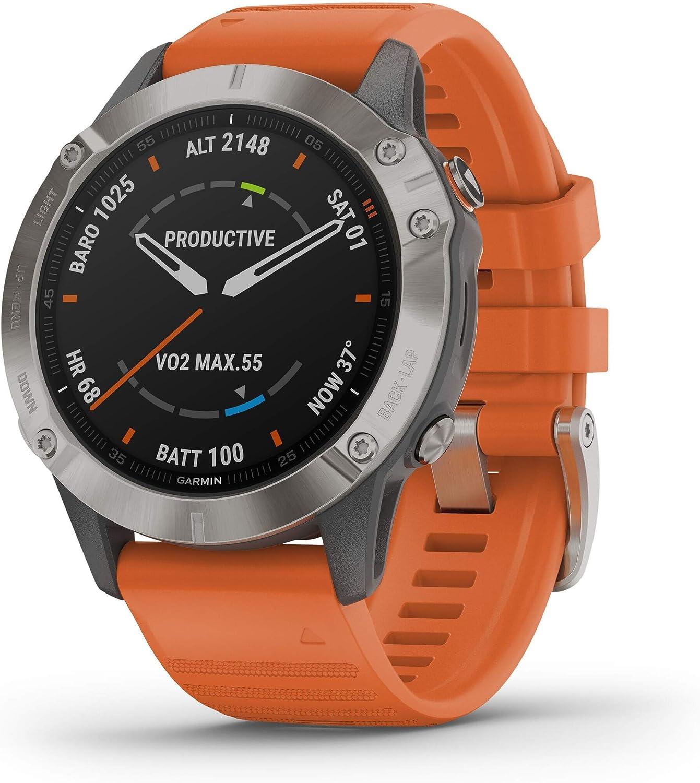 Garmin - Reloj GPS con Pulsómetro Fenix 6 Zafiro Titanio