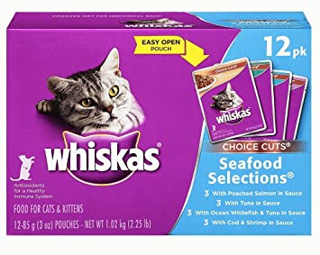 Whiskas Choice Corta alimentos para gatos y gatitos, marisco - 12 - 3 oz bolsas: Amazon.es: Productos para mascotas
