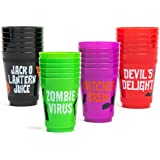 Halloween Plastic Party Cups, Witches Brew, Zombie Juice, Devil's Delight, Jack O Lantern Juice (16 oz, 24 Pack)