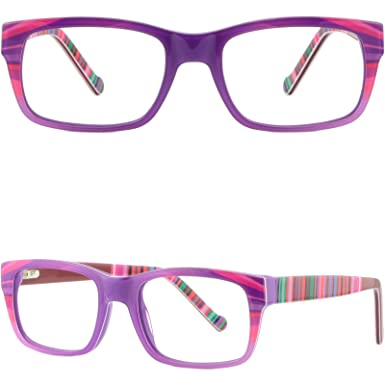 44c08bd0775e Image Unavailable. Image not available for. Color  Rectangular Womens Frame  Thick Plastic Prescription Glasses Spring Hinges Purple