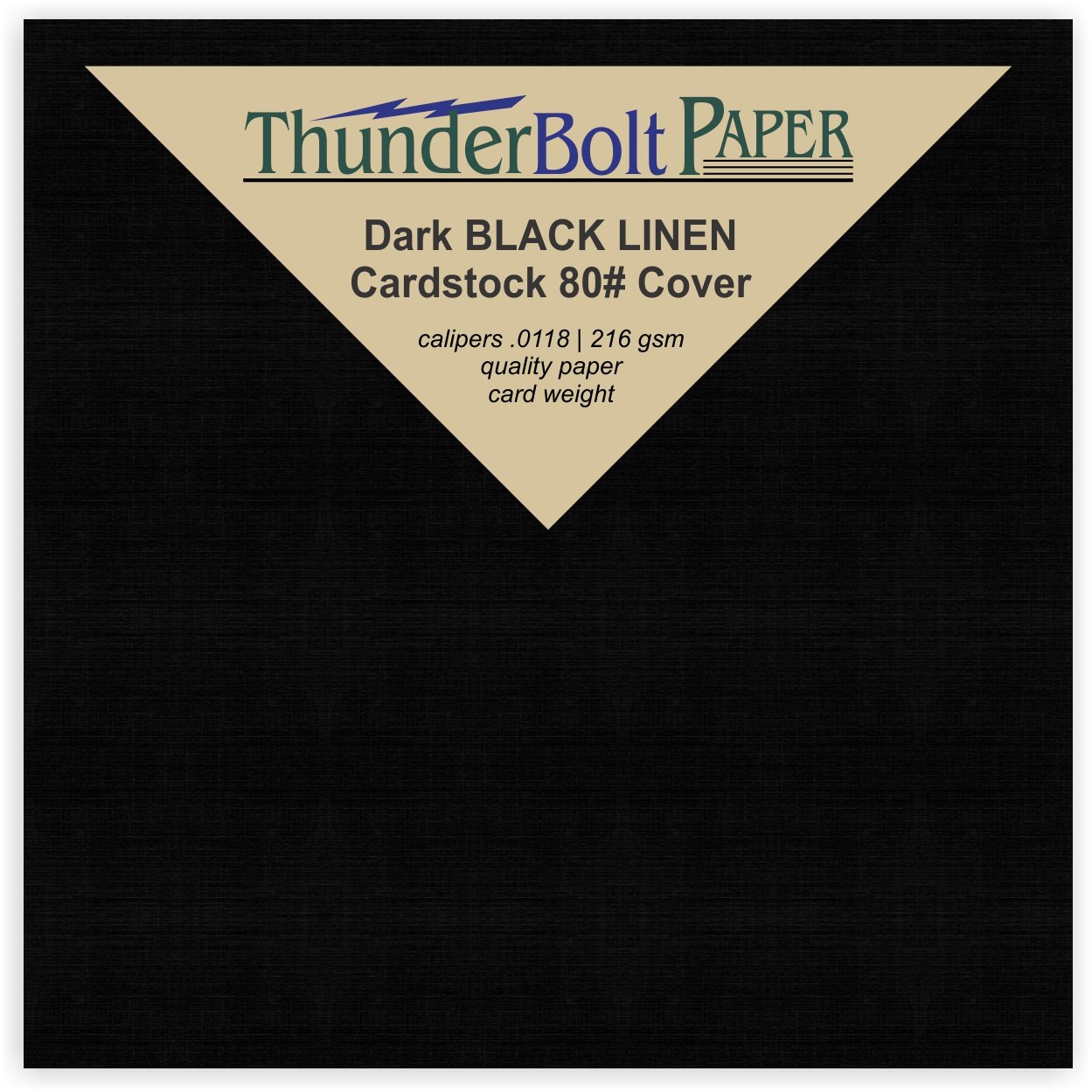 300 Black Linen 80# Cover Paper Sheets - 4'' X 4'' (4X4 Inches) Small Square Card Size - Card Weight - Deep Dye, Fine Linen Textured Finish - Quality Cardstock