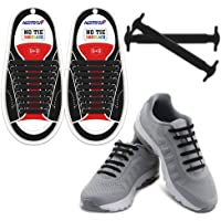 HOMAR No Tie Shoelaces for Kids and Adults - Best in Sports Fan Shoelaces - Waterproof Silicone Flat Elastic Athletic Running Shoe Laces with Multicolor for Sneaker Boots Board Shoes and Casual Shoes