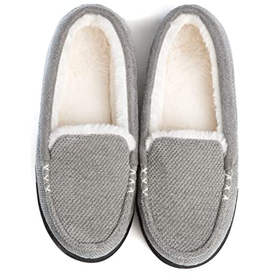 RockDove Women's Chenille Faux Fur Lined Moc Slipper | Slippers