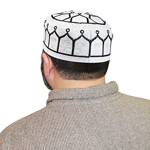 9ace3c7bc22 Image Unavailable. Image not available for. Color  Hijaz Muslim Mens Topi  Prayer Black White Kufi Cap Hat ...