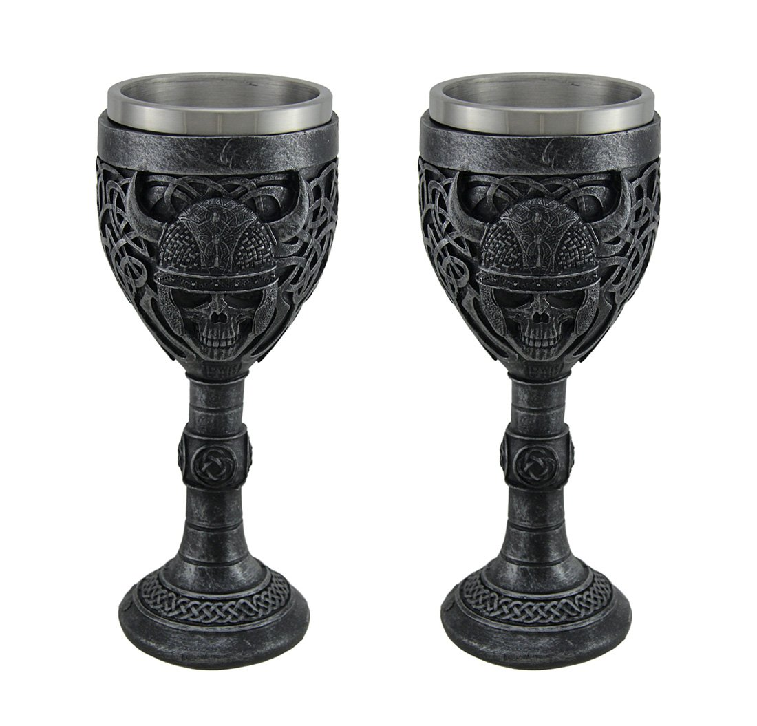 Resin Goblets Set Of 2 Viking Skull Stainless Steel Lined Gothic Chalices 3.25 X 7.5 X 3.25 Inches Gunmetal