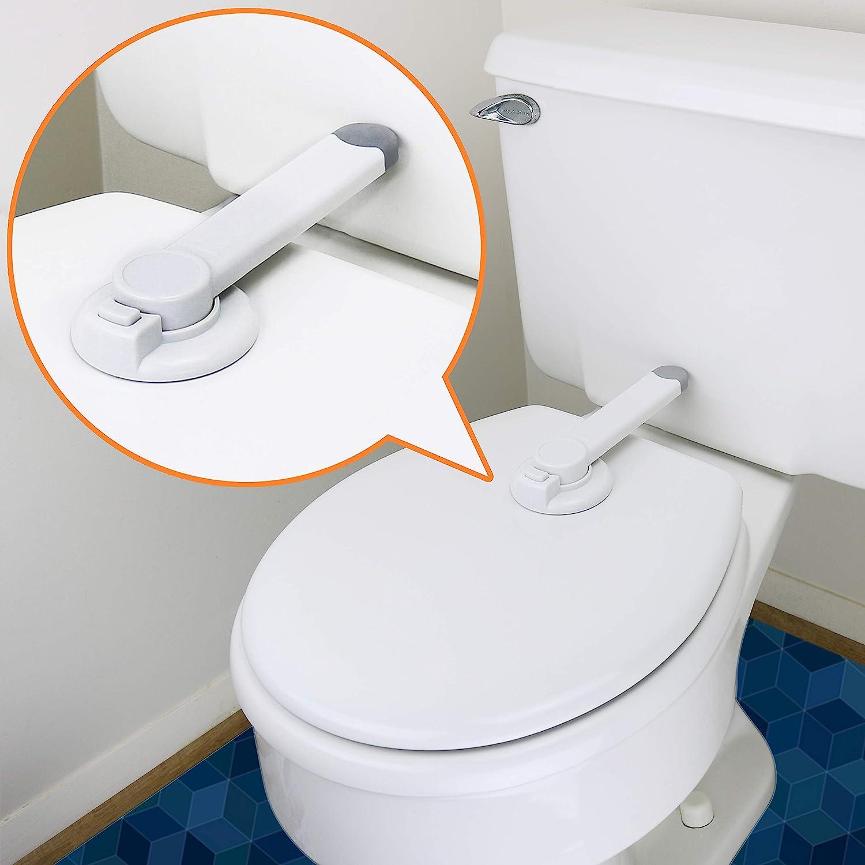 Traba de seguridad para tapa de inodoro (Pack de 2, blanco)