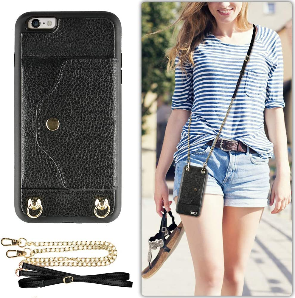 """LAMEEKU iPhone 6 Wallet Case, iPhone 6S Case with Credit Card Holder Slot, Women Men Magnetic Protective Leather Purse Phone Case with Crossbody Chain Strap Wrist Strap for iPhone 6/6s 4.7"""" Black"""