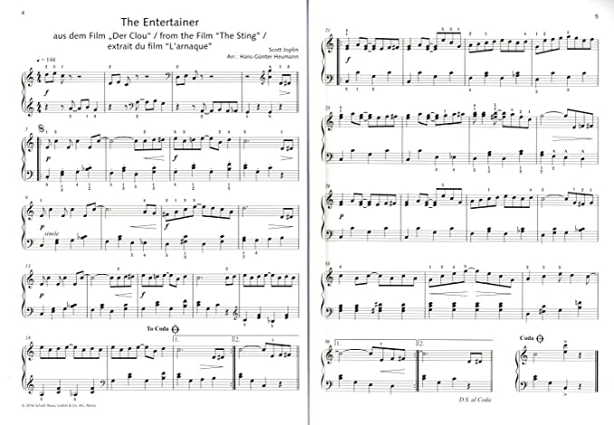 The Entertainer - divertissante de Piano de 100 embouts de classique à Pop - Note livre avec cœur Note colorée Pince - Schott Music - ed22600-9783795710668: ...
