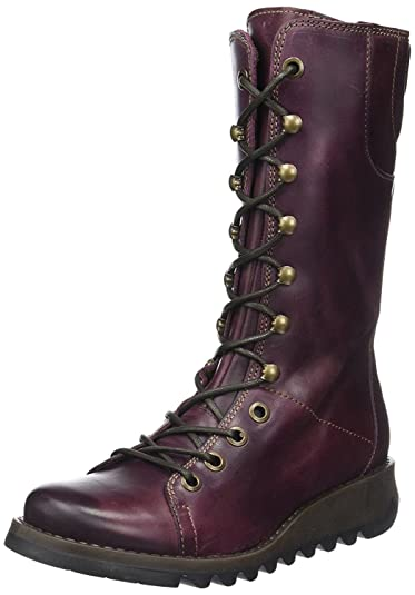Ster768Fly Purple Leather Womens Mid Calf Boots-41